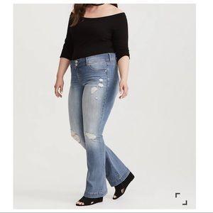 Torrid Flare Jeans Distressed Destroyed Size 20R